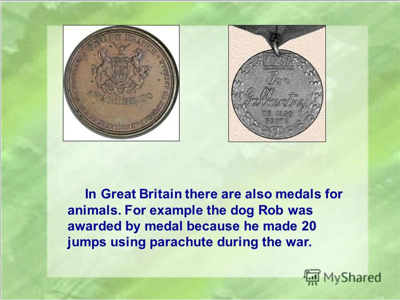 In Great Britain there are also medals for animals. For example the dog Rob was awarded by medal because he made 20 jumps using parachute during the war.