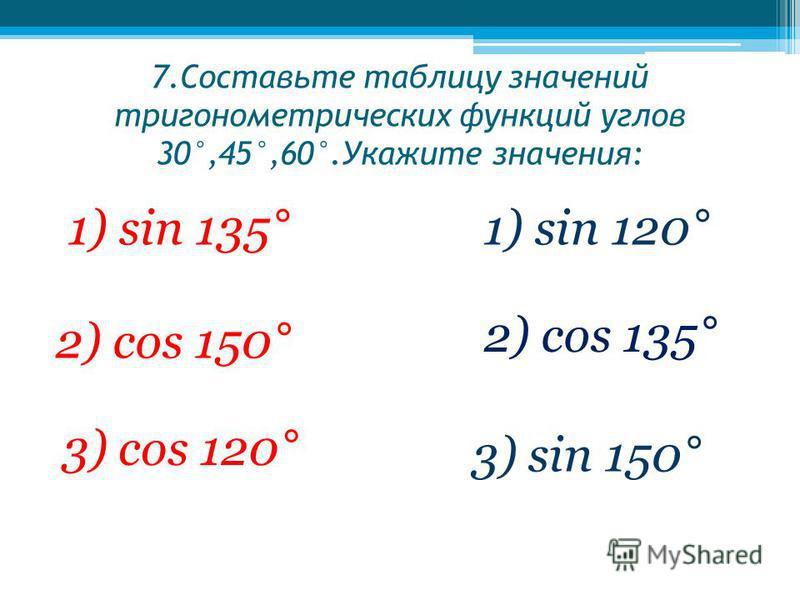 7. Составьте таблицу значений тригонометрических функций углов 30°,45°,60°.Укажите значения: 2) cos 150° 1) sin 120° 2) cos 135° 1) sin 135° 3) cos 120° 3) sin 150°