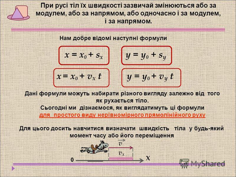 х = х 0 + s x y = y 0 + s y Дані формули можуть набирати різного вигляду залежно від того як рухається тіло. Сьогодні ми дізнаємося, як виглядатимуть ці формули для простого виду нерівномірного прямолінійного руху При русі тіл їх швидкості зазвичай з