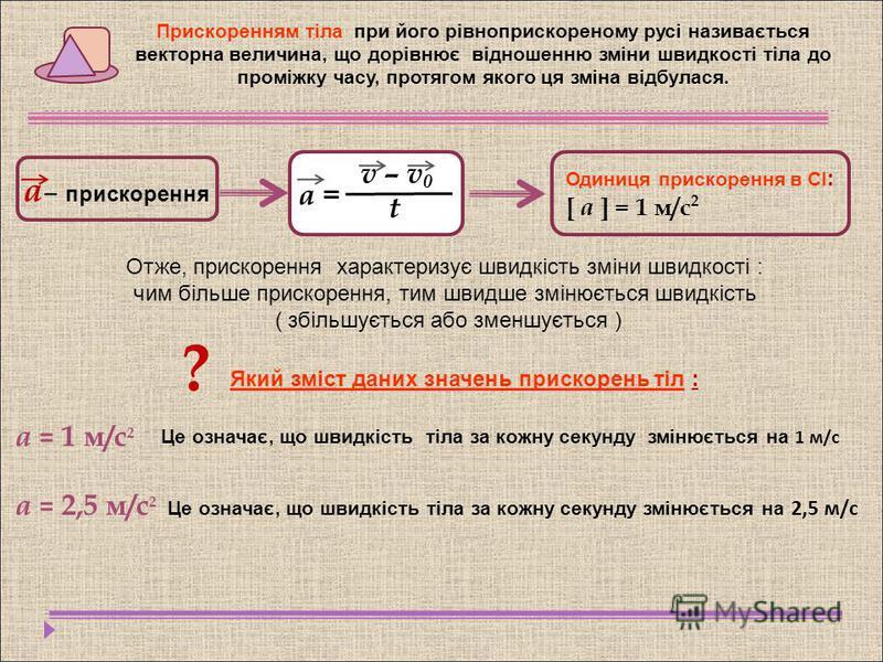 Прискоренням тіла при його рівноприскореному русі називається векторна величина, що дорівнює відношенню зміни швидкості тіла до проміжку часу, протягом якого ця зміна відбулася. а – прискорення v – v 0 t а = Одиниця прискорення в СІ : [ a ] = 1 м/с 2