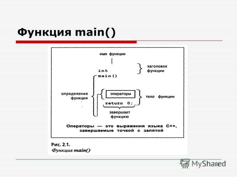 6 Функция main()