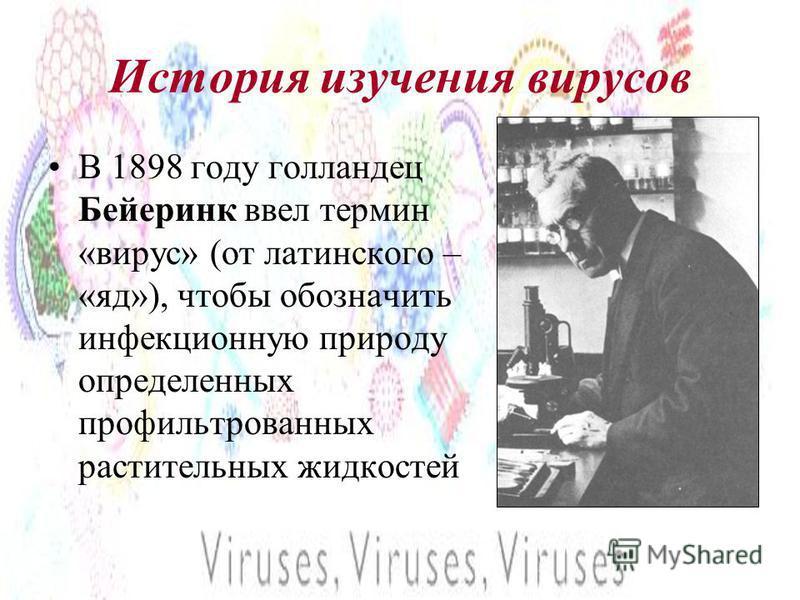 История изучения вирусов В 1898 году голландец Бейеринк ввел термин «вирус» (от латинского – «яд»), чтобы обозначить инфекционную природу определенных профильтрованных растительных жидкостей
