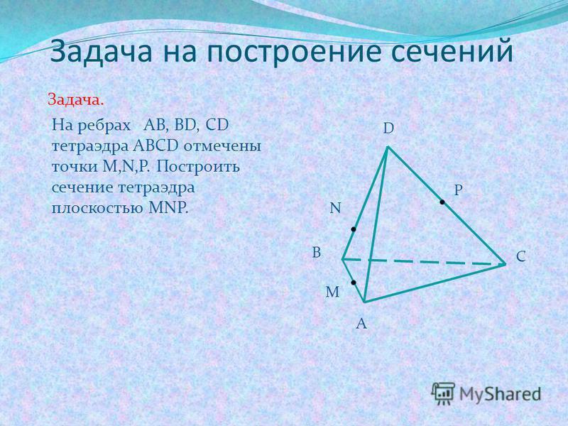 Метод следов включает три важных пункта: Строится линия пересечения (след) секущей плоскости с плоскостью основания многогранника. Находим точки пересечения секущей плоскости с ребрами многогранника. Строим и заштриховываем сечение.