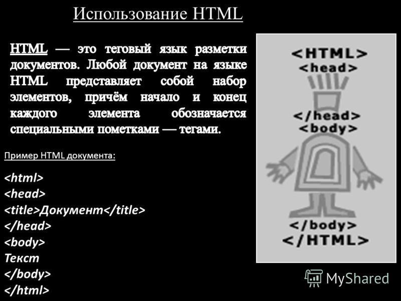 Использование HTML Документ Текст Пример HTML документа: