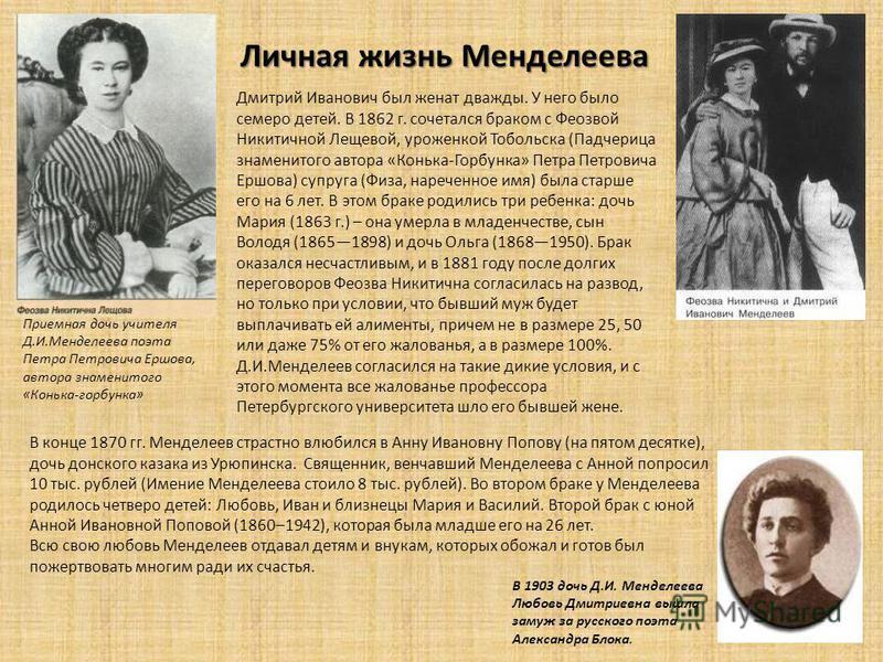 Личная жизнь Менделеева Дмитрий Иванович был женат дважды. У него было семеро детей. В 1862 г. сочетался браком с Феозвой Никитичной Лещевой, уроженкой Тобольска (Падчерица знаменитого автора «Конька-Горбунка» Петра Петровича Ершова) супруга (Физа, н