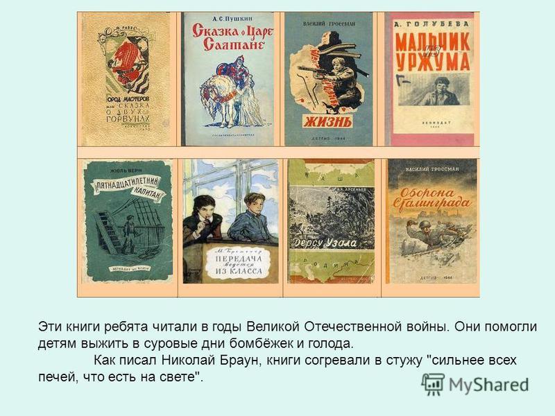 Эти книги ребята читали в годы Великой Отечественной войны. Они помогли детям выжить в суровые дни бомбёжек и голода. Как писал Николай Браун, книги согревали в стужу сильнее всех печей, что есть на свете.