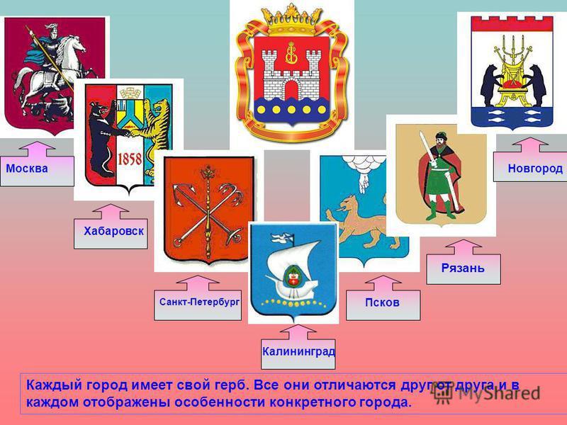 Москва Хабаровск Санкт-Петербург Калининград Псков Рязань Новгород Каждый город имеет свой герб. Все они отличаются друг от друга и в каждом отображены особенности конкретного города.