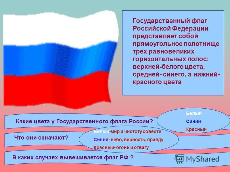 Государственный флаг Российской Федерации представляет собой прямоугольное полотнище трех равновеликих горизонтальных полос: верхней-белого цвета, средней- синего, а нижний- красного цвета Какие цвета у Государственного флага России? Что они означают