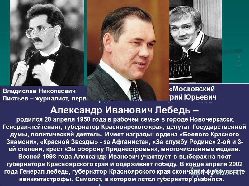 Владислав Николаевич Листьев – журналист, первый генеральный директор Общественного Российского Телевидения, художественный руководитель и ведущий популярных программ «Взгляд», «Поле Чудес», «Тема», «Час пик» и многих других. 1 марта 1995 года убит в