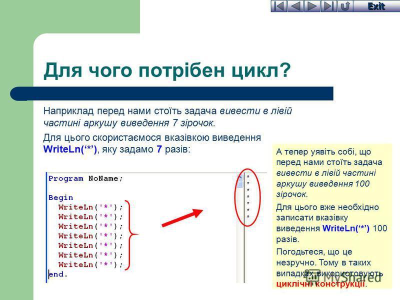 Exit Для чого потрібен цикл? Наприклад перед нами стоїть задача вивести в лівій частині аркушу виведення 7 зірочок. Для цього скористаємося вказівкою виведення WriteLn(*), яку задамо 7 разів: А тепер уявіть собі, що перед нами стоїть задача вивести в