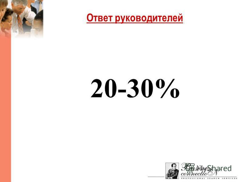 Ответ руководителей 20-30%