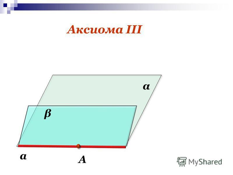 Аксиома III A α а β