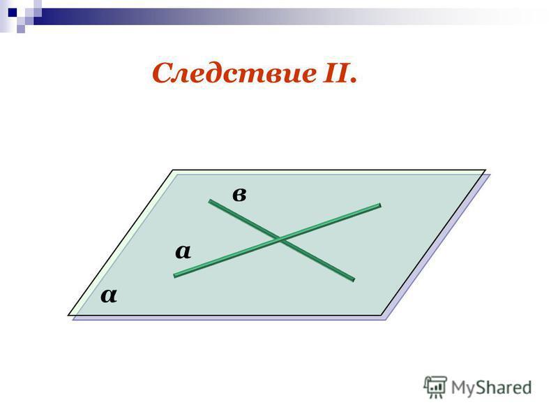 Следствие II. а в α