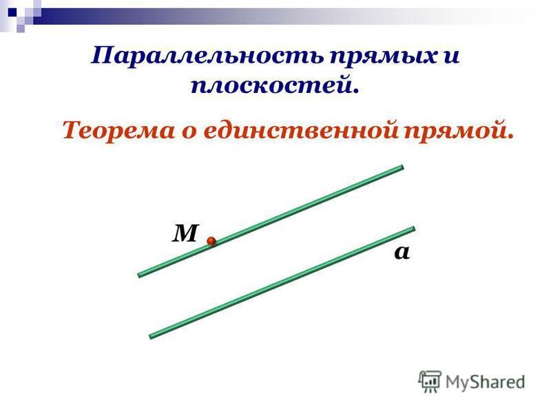 Параллельность прямых и плоскостей. Теорема о единственной прямой. М а