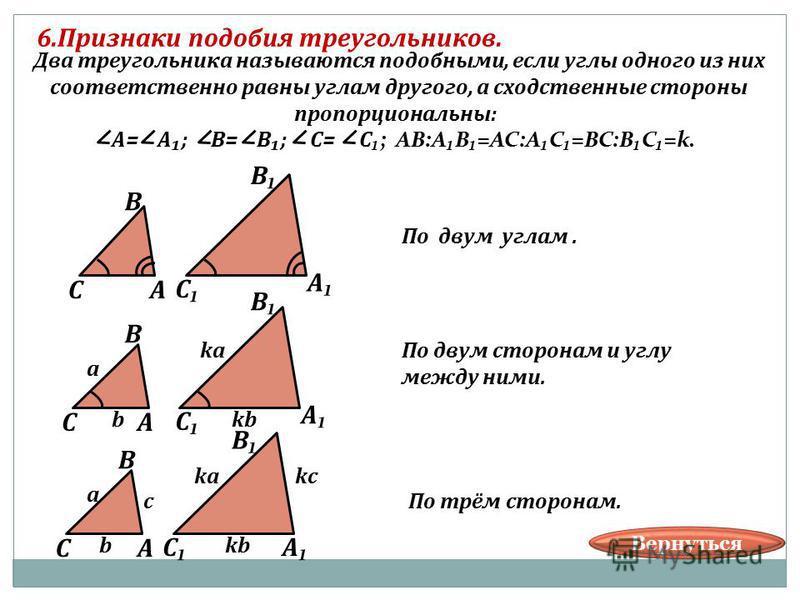 6. Признаки подобия треугольников. В АС В А С Два треугольника называются подобными, если углы одного из них соответственно равны углам другого, а сходственные стороны пропорциональны: А= А; В= В; С= С ; АВ:АВ=АС:АС=ВС:ВС=k. В АС В А С В АС В А С a b
