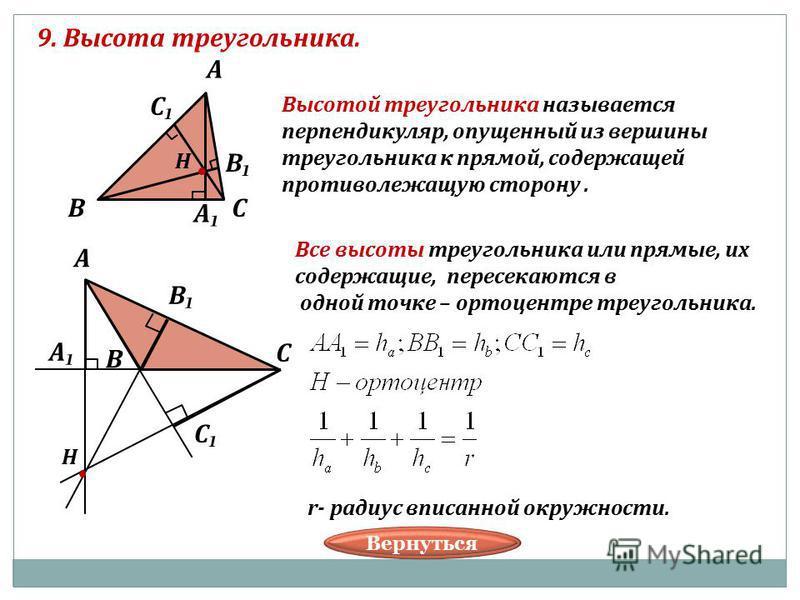 9. Высота треугольника. В А С В С А Н Н В А С В С А Высотой треугольника называется перпендикуляр, опущенный из вершины треугольника к прямой, содержащей противолежащую сторону. Все высоты треугольника или прямые, их содержащие, пересекаются в одной