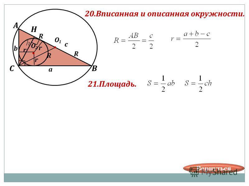 20. Вписанная и описанная окружности. В А С а О О с b R R R r r r 21.Площадь. Н Вернуться
