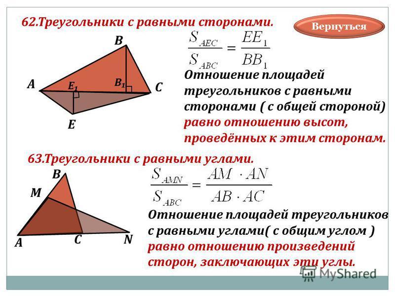 62. Треугольники с равными сторонами. В А С Е В Е Отношение площадей треугольников с равными сторонами ( с общей стороной) равно отношению высот, проведённых к этим сторонам. В А С М N Отношение площадей треугольников с равными углами( с общим углом