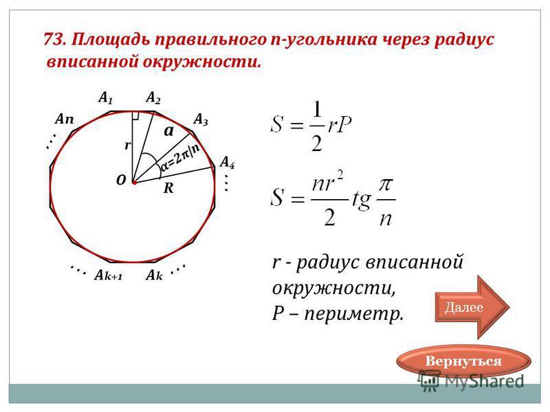 ... 73. Площадь правильного п-угольника через радиус вписанной окружности. О А А А А АnАn... АkАk А k+1... α=2 π |n a R r r - радиус вписанной окружности, P – периметр. Вернуться Далее