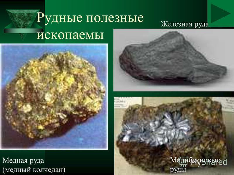 Рудные полезные ископаемы Медная руда (медный колчедан) Железная руда Молибденовые руды