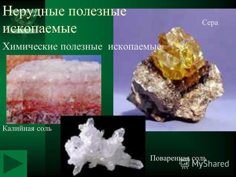 Химические полезные ископаемые Калийная соль Сера Поваренная соль