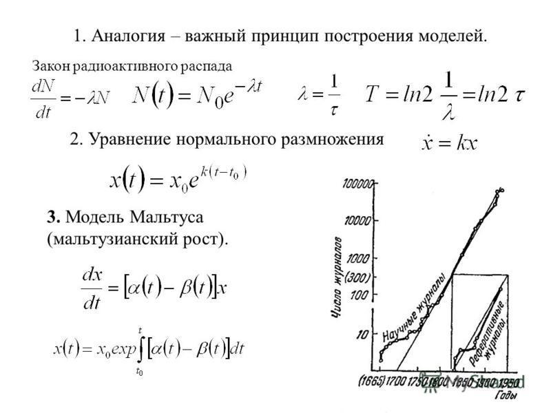 1. Аналогия – важный принцип построения моделей. Закон радиоактивного распада 2. Уравнение нормального размножения 3. Модель Мальтуса (мальтузианский рост).