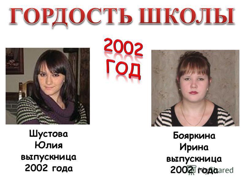 Бояркина Ирина выпускница 2002 года Шустова Юлия выпускница 2002 года