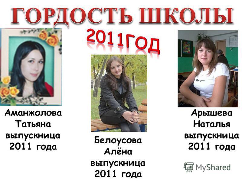 Аманжолова Татьяна выпускница 2011 года Арышева Наталья выпускница 2011 года Белоусова Алёна выпускница 2011 года