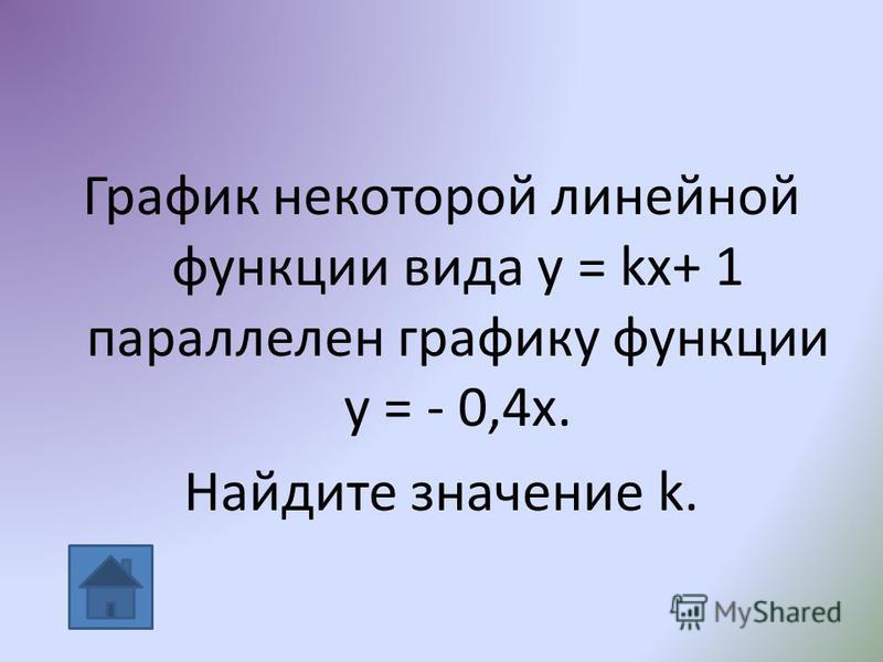 График некоторой линейной функции вида у = kx+ 1 параллелен графику функции у = - 0,4 х. Найдите значение k.