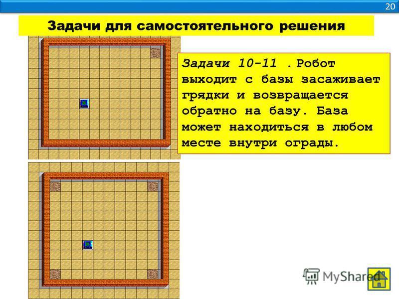20 Задачи для самостоятельного решения Задачи 10-11. Робот выходит с базы засаживает грядки и возвращается обратно на базу. База может находиться в любом месте внутри ограды.