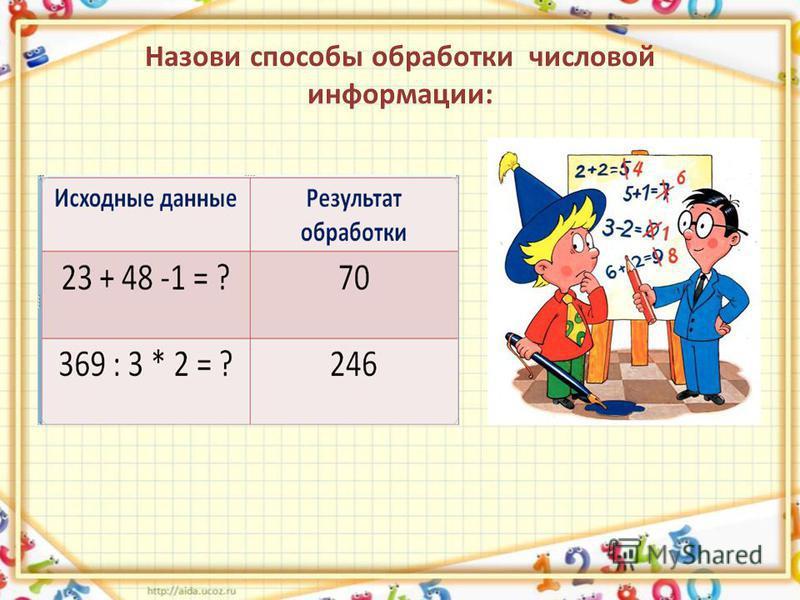 Назови способы обработки числовой информации: