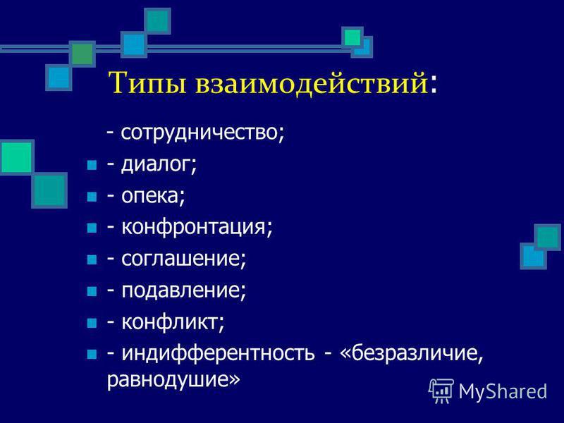 Типы взаимодействий : - сотрудничество; - диалог; - опека; - конфронтация; - соглашение; - подавление; - конфликт; - индифферентность - «безразличие, равнодушие»