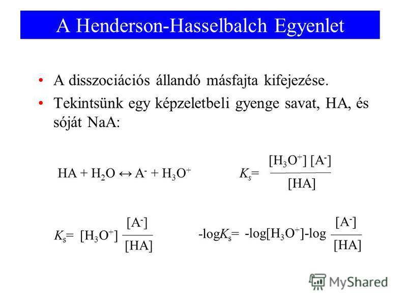 A Henderson-Hasselbalch Egyenlet A disszociációs állandó másfajta kifejezése. Tekintsünk egy képzeletbeli gyenge savat, HA, és sóját NaA: HA + H 2 O A - + H 3 O + [H 3 O + ] [A - ] [HA] Ks=Ks=[H 3 O + ] [HA] Ks=Ks= [A - ] -log[H 3 O + ]-log [HA] -log