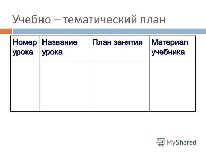 Учебно – тематический план Номер урока Название урока План занятия Материал учебника