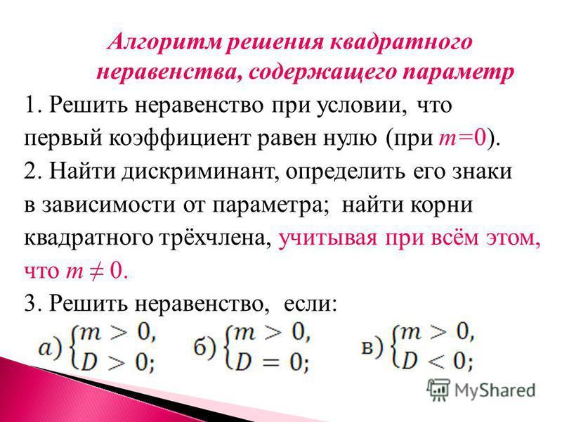 Алгоритм решения квадратного неравенства, содержащего параметр 1. Решить неравенство при условии, что первый коэффициент равен нулю (при m=0). 2. Найти дискриминант, определить его знаки в зависимости от параметра; найти корни квадратного трёхчлена,