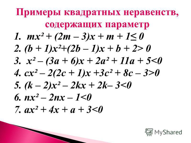 Примеры квадратных неравенств, содержащих параметр 1. mх² + (2m – 3)х + m + 1 0 2. (b + 1)х²+(2b – 1)х + b + 2> 0 3. х² – (3 а + 6)х + 2 а² + 11 а + 5<0 4. cх² – 2(2c + 1)х +3c² + 8c – 3>0 5. (k – 2)х² – 2kх + 2k– 3<0 6. nх² – 2nх – 1<0 7. ах² + 4 х