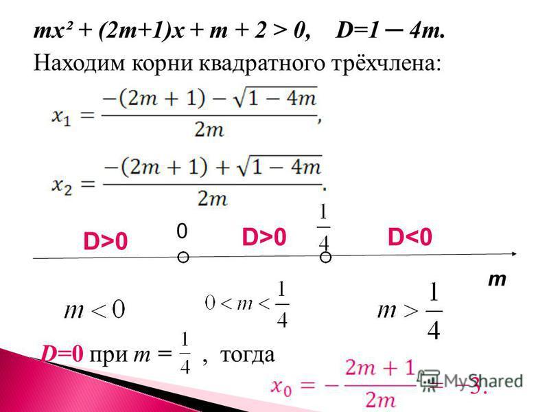 mx² + (2m+1)x + m + 2 > 0, D=1 4m. Находим корни квадратного трёхчлена: D=0 при m =, тогда = 3. m 0 D>0 D<0