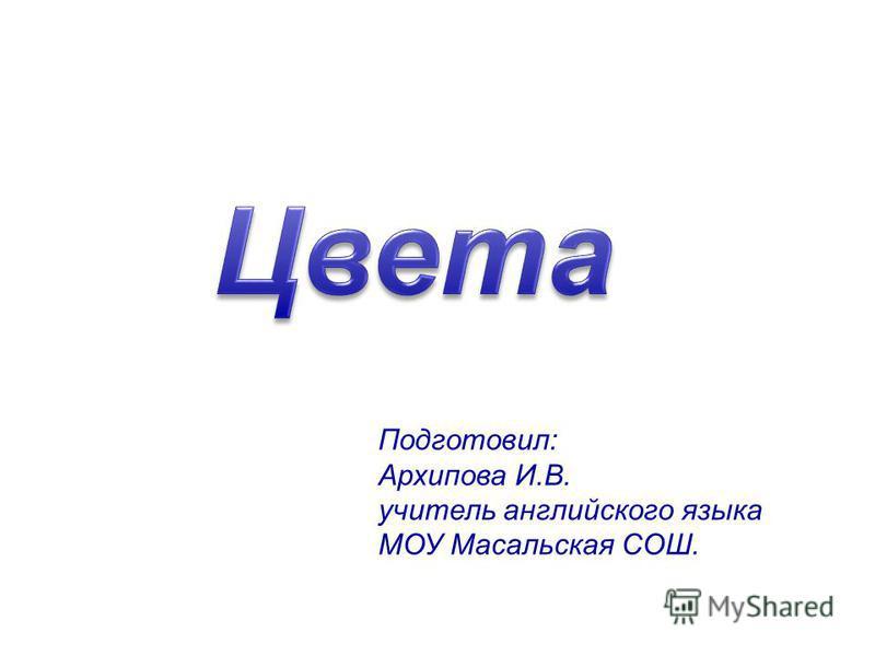 Подготовил: Архипова И.В. учитель английского языка МОУ Масальская СОШ.