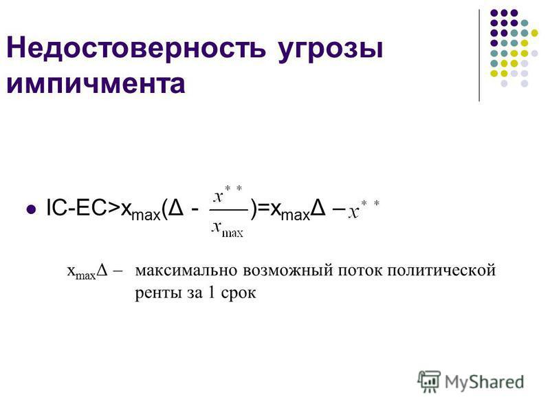 Недостоверность угрозы импичмента IC-EC>x max (Δ - )=x max Δ – x max Δ – максимально возможный поток политической ренты за 1 срок