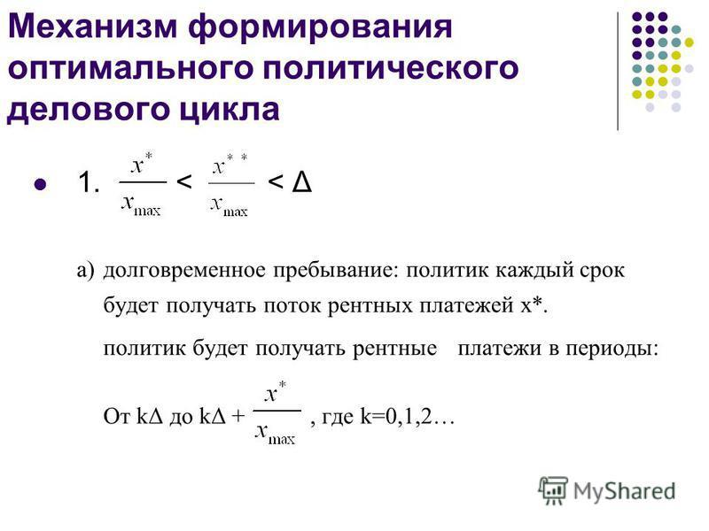 Механизм формирования оптимального политического делового цикла 1. < < Δ а) долговременное пребывание: политик каждый срок будет получать поток рентных платежей x*. политик будет получать рентные платежи в периоды: От kΔ до kΔ +, где k=0,1,2…