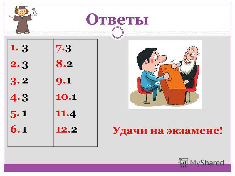 Ответы 1.3 2.3 3.2 4.3 5.1 6.1 7.3 8.2 9.1 10.1 11.4 12.2 Удачи на экзамене!