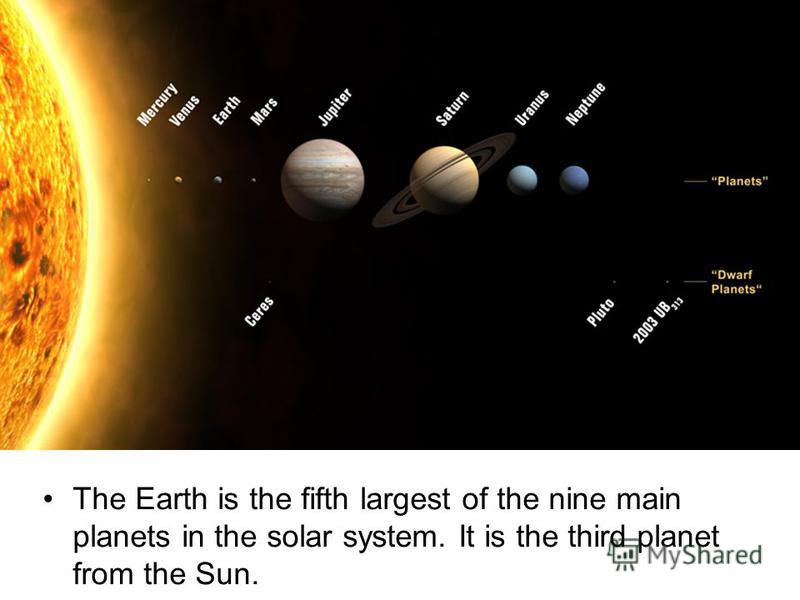 The Earth is the fifth largest of the nine main planets in the solar system. It is the third planet from the Sun.