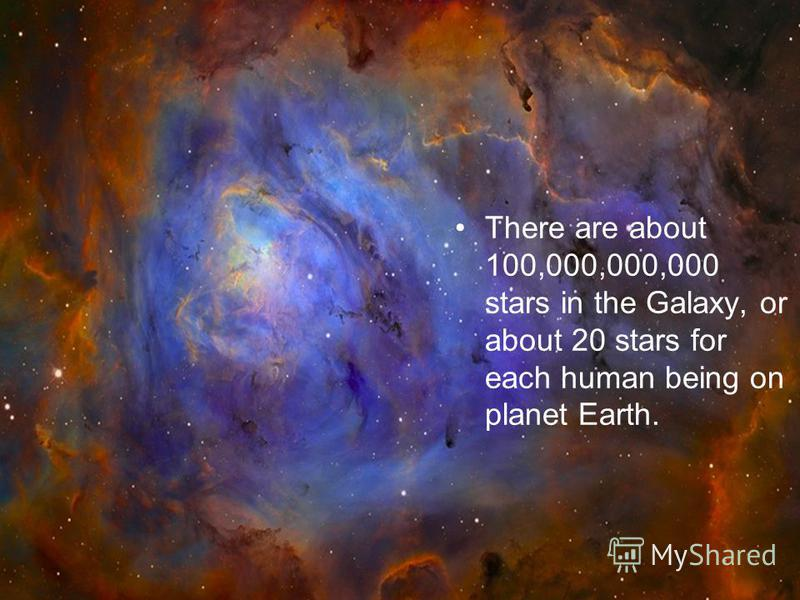 There are about 100,000,000,000 stars in the Galaxy, or about 20 stars for each human being on planet Earth.