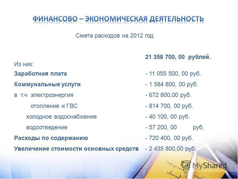 Смета расходов на 2012 год 21 358 700, 00 рублей. Из них: Заработная плата - 11 055 500, 00 руб. Коммунальные услуги- 1 584 800, 00 руб. в т.ч электроэнергия- 672 800,00 руб. отопление и ГВС- 814 700, 00 руб. холодное водоснабжение- 40 100, 00 руб. в