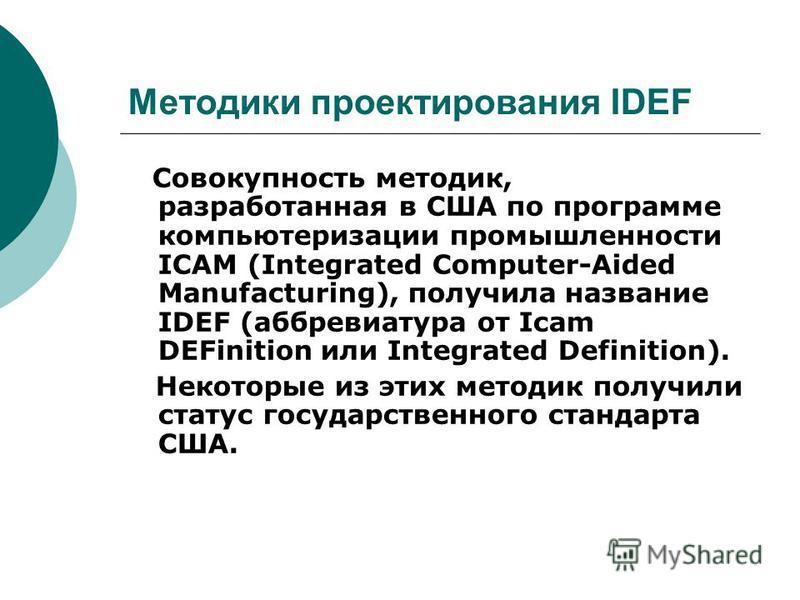 Методики проектирования IDEF Совокупность методик, разработанная в США по программе компьютеризации промышленности ICAM (Integrated Computer-Aided Manufacturing), получила название IDEF (аббревиатура от Icam DEFinition или Integrated Definition). Нек