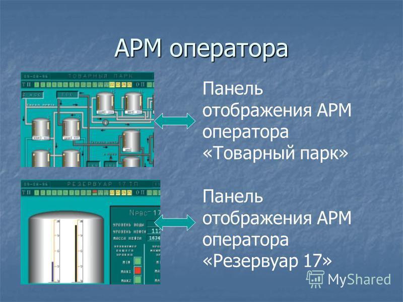 АРМ оператора Панель отображения АРМ оператора «Товарный парк» Панель отображения АРМ оператора «Резервуар 17»