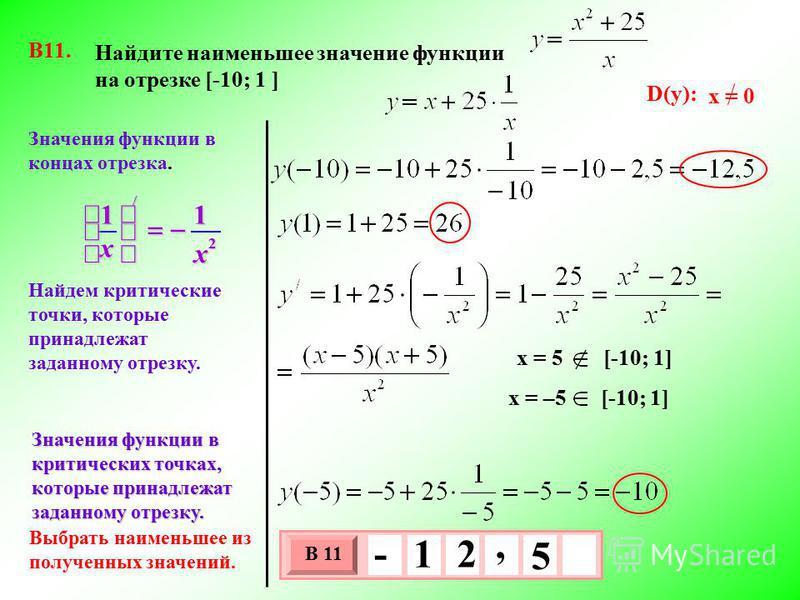 Найдите наименьшее значение функции на отрезке [-10; 1 ] В11. Найдем критические точки, которые принадлежат заданному отрезку. Выбрать наименьшее из полученных значений. Значения функции в концах отрезка. 3 х 1 0 х В 11 5, - 1 2 Значения функции в кр
