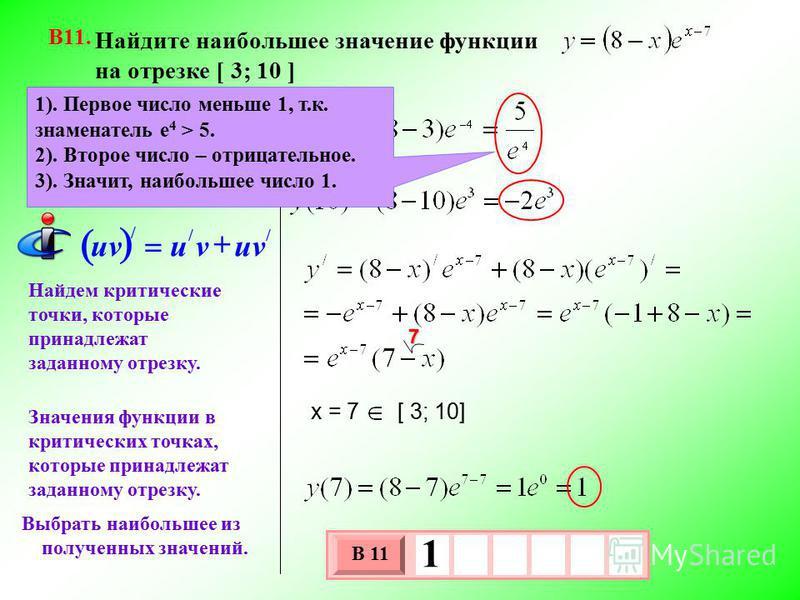 Найдите наибольшее значение функции на отрезке [ 3; 10 ] В11. Найдем критические точки, которые принадлежат заданному отрезку. Выбрать наибольшее из полученных значений. Значения функции в концах отрезка. 3 х 1 0 х В 11 1 Значения функции в критическ