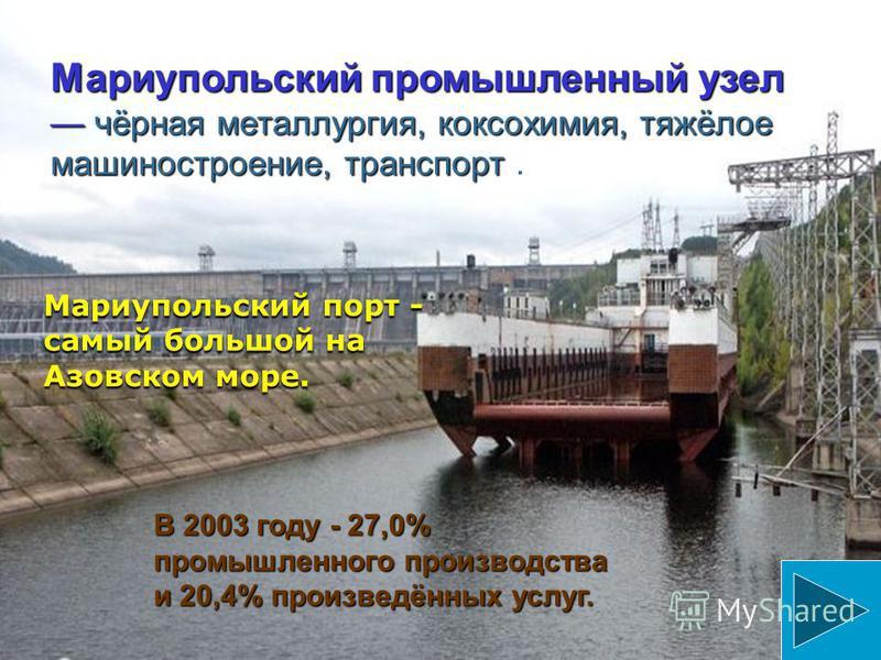Донецко-Макеевский промышленный узел (крупнейший на Украине ): угольная и металлургическая промышленность, тяжёлое машиностроение и электроэнергетика в сочетании с лёгкой и пищевой промышленностью. 33,4% промышленного производства района и 31,6% прои