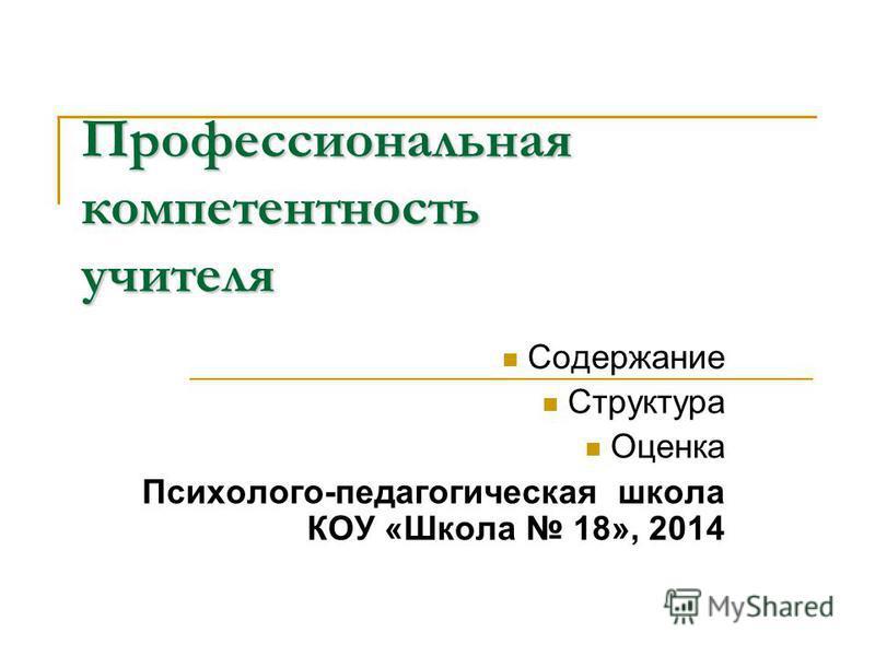 Профессиональная компетентность учителя Содержание Структура Оценка Психолого-педагогическая школа КОУ «Школа 18», 2014